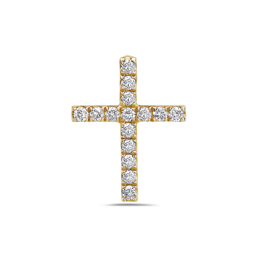 18K Yellow Gold Cross Pendant with 0.30 CT Diamonds