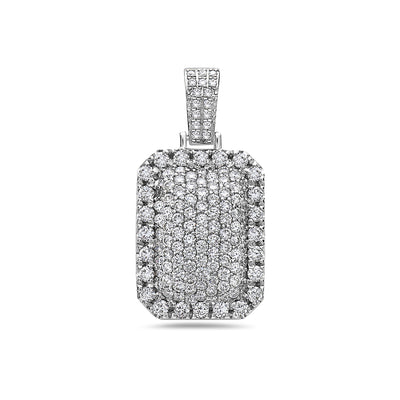 Men's 14K White Gold Dog Tag Pendant with 3.52 CT Diamonds