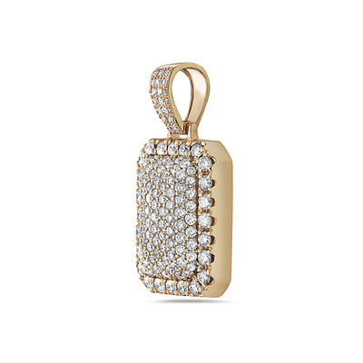 Men's 14K Yellow Gold Dog Tag Pendant with 3.52 CT Diamonds