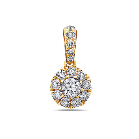 Gold Disk Pendant With Diamonds available in White & Yellow Gold