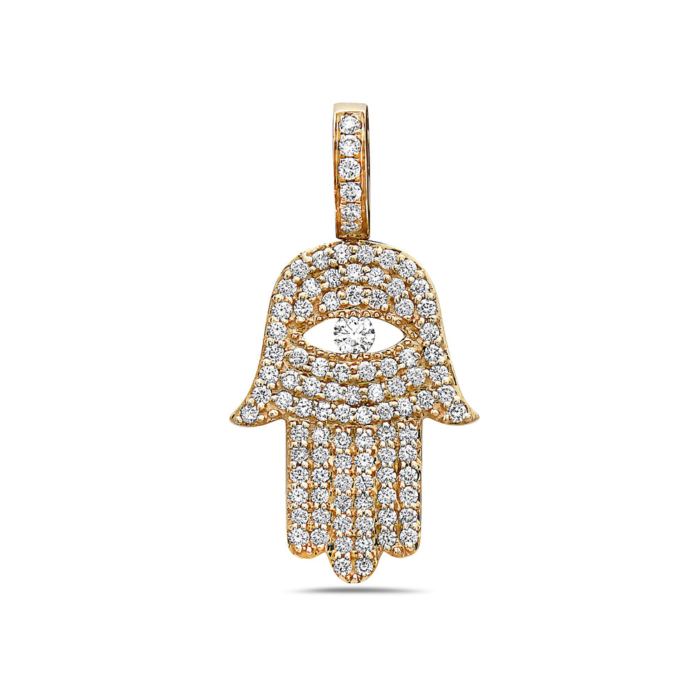 Men's 14K Yellow Gold Hamsa Pendant with 1.25 CT Diamonds