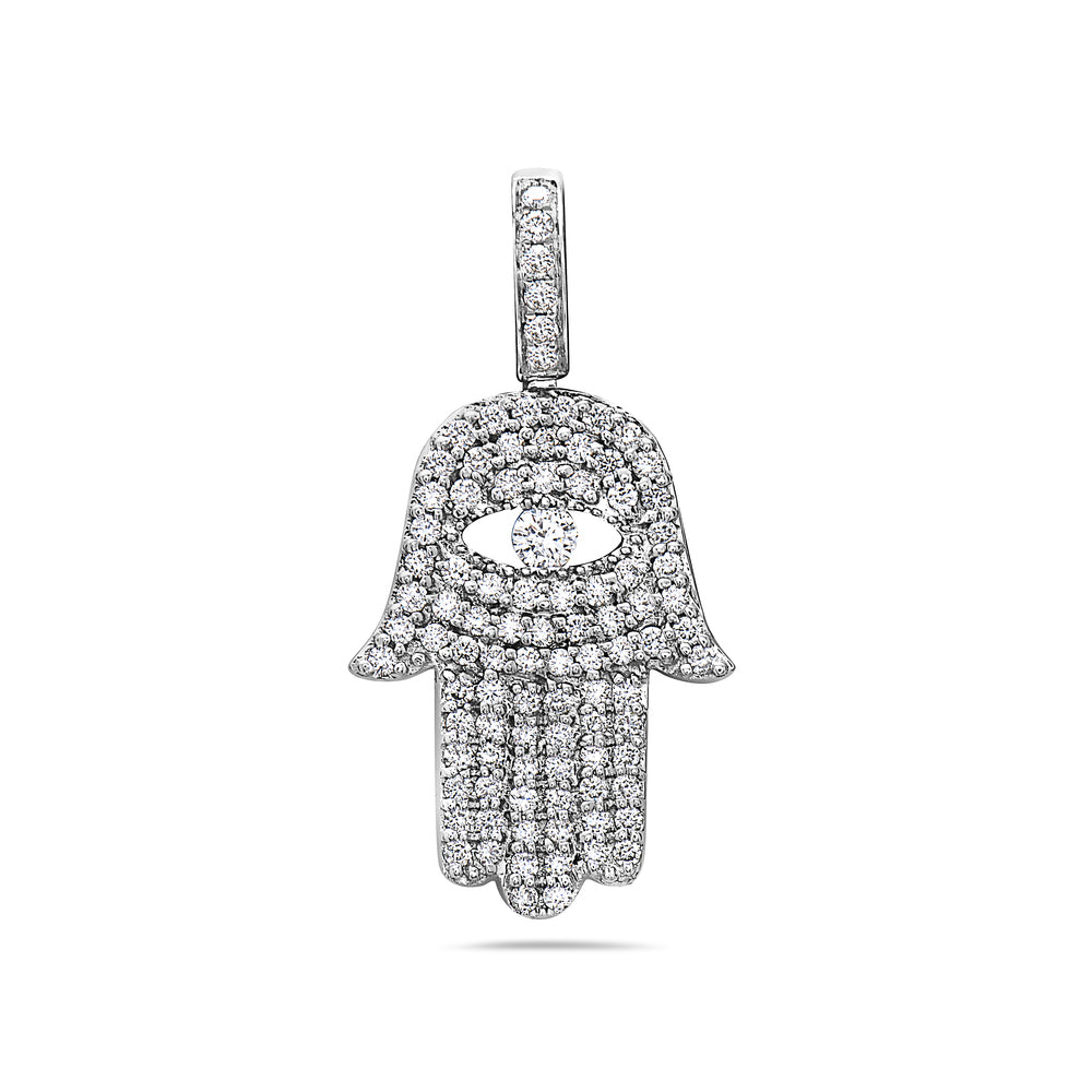 Men's 14K White Gold Hamsa Pendant with 1.25 CT Diamonds