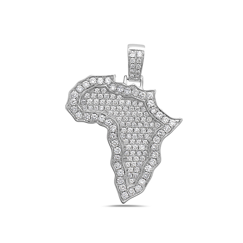 Unisex 14K White Gold Africa Pendant with 1.87 CT Diamonds