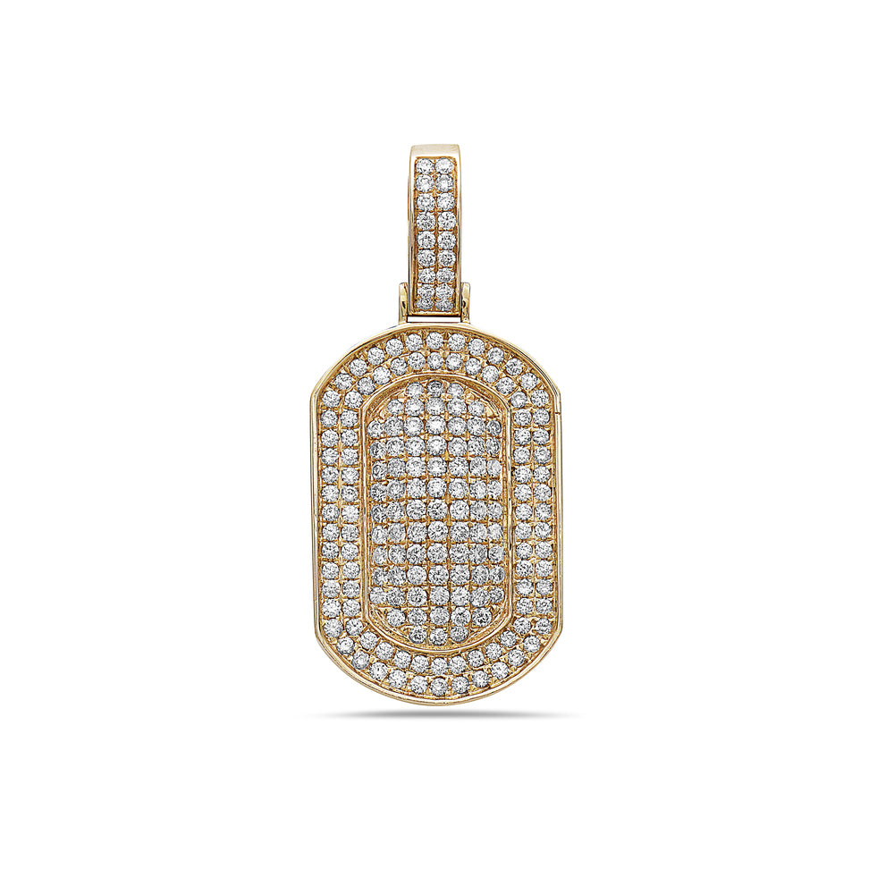 Men's 14K Yellow Gold Dog Tag Pendant with 2.40 CT Diamonds