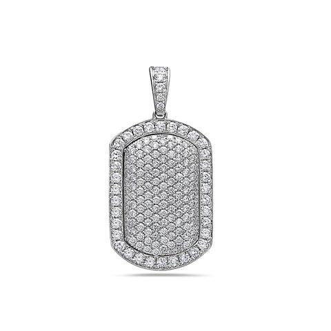 Men's 14K White Gold Dog Tag Pendant with 2.25 CT Diamonds
