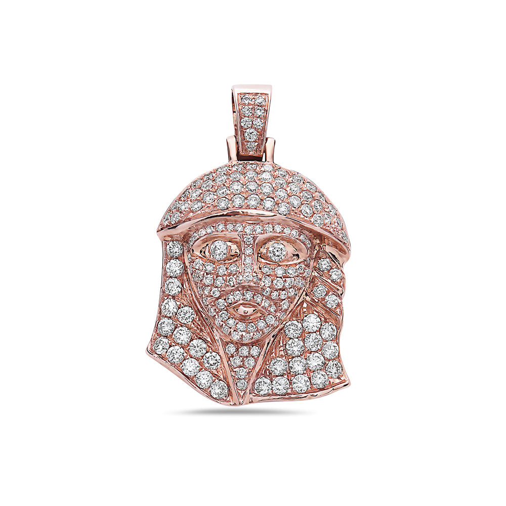 Men's 14K Rose Gold Jesus Head Pendant with 1.60 CT Diamonds