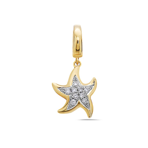 Melted Star Women's Pendant With 0.12 CT Diamonds available in White and Yellow Gold
