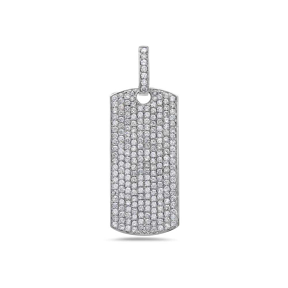Men's 14K White Gold Dog Tag Pendant with 4.25 CT Diamonds