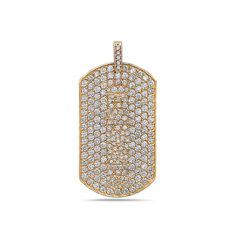 14K Yellow Gold Solid Tag Pendant With 2.50 CT Diamonds