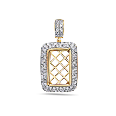 14K Yellow Gold Window Frame Tag Pendant With 1.75 CT Diamonds