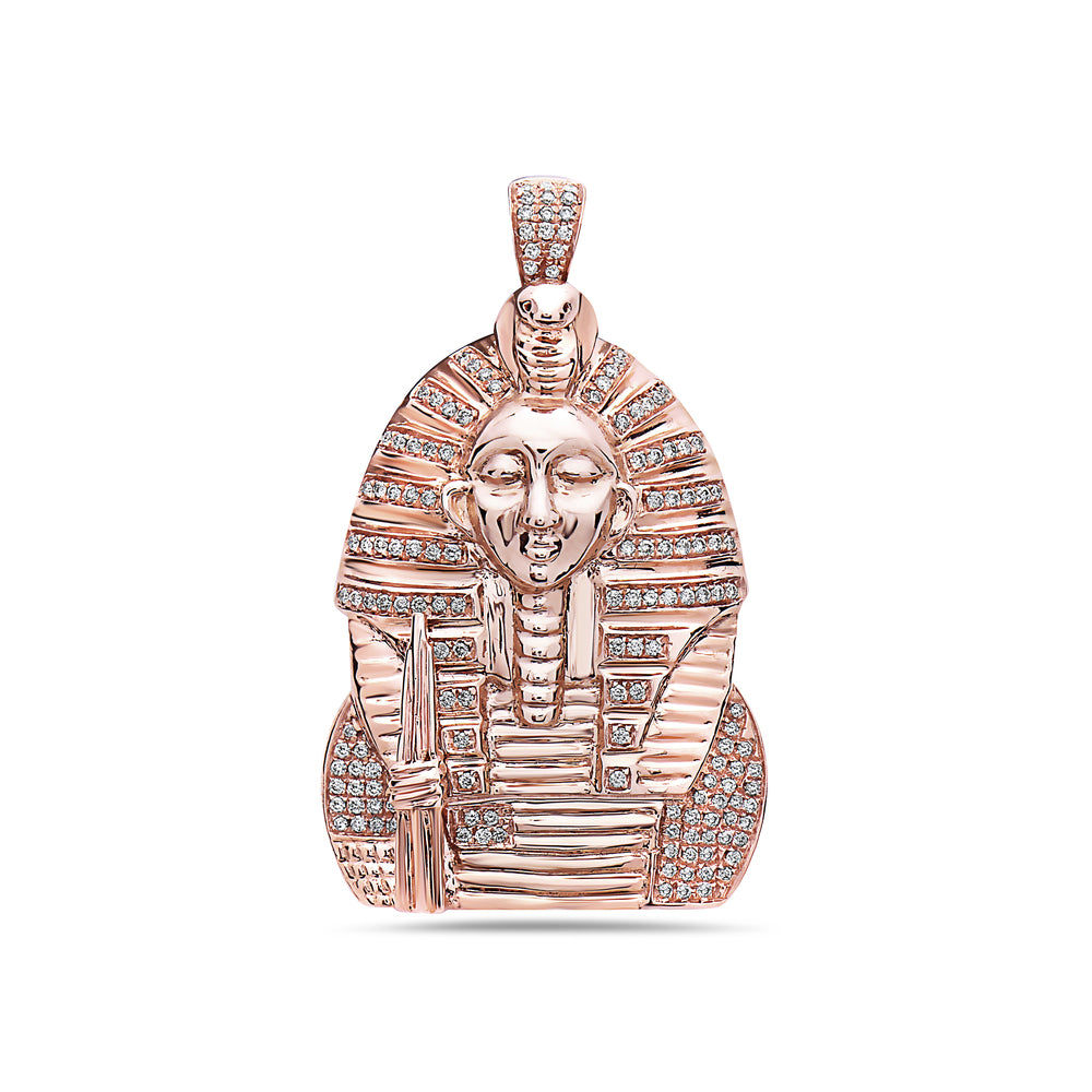Men's 14K Rose Gold King Tut Pendant with 0.65 CT Diamonds