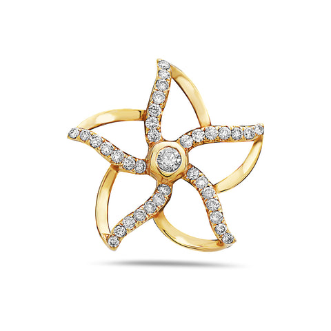 18K Yellow Gold Flower Pendant With 0.28 CT Diamonds