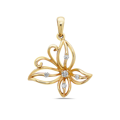 18K Yellow Gold Butterfly Women's Pendant With 0.09 CT Diamonds