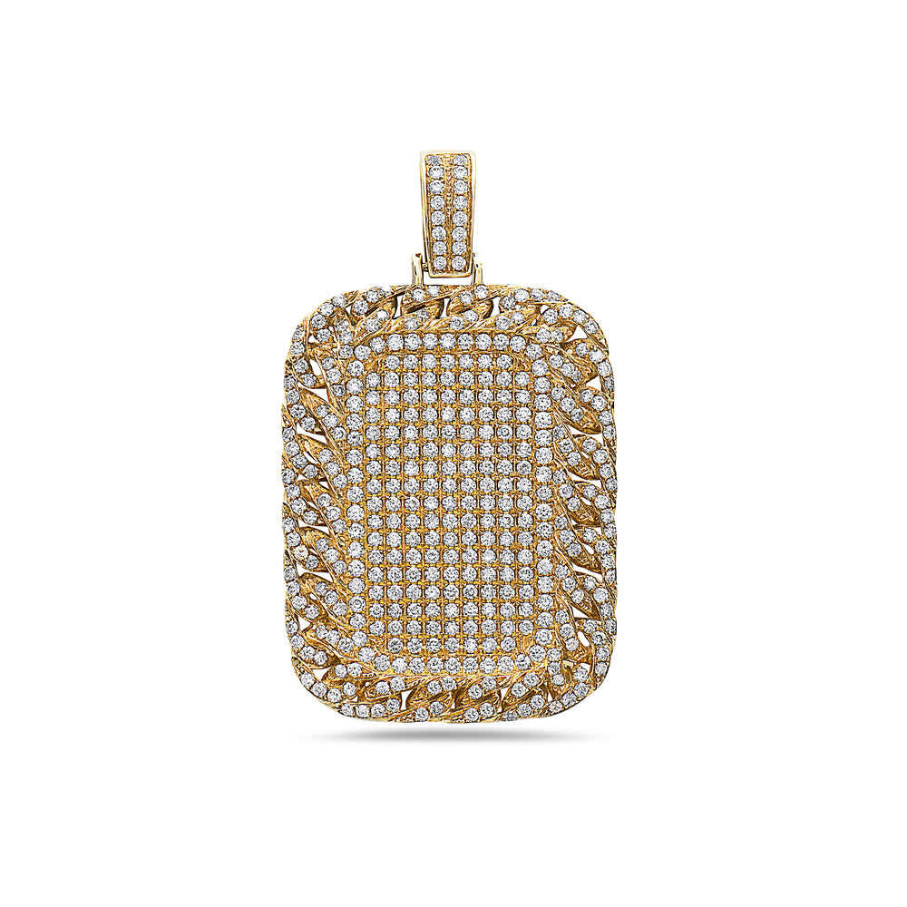 14K Yellow Gold Curb Link Pendant with 4.50 CT Diamonds