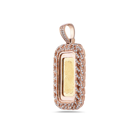 14K Rose Gold Curb Link Fortuna Pendant with 1.80 CT Diamonds