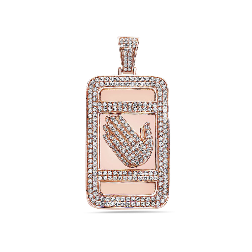 Men's 14K Rose Gold Prayer Hands Dog Tag Pendant with 4.75 CT Diamonds