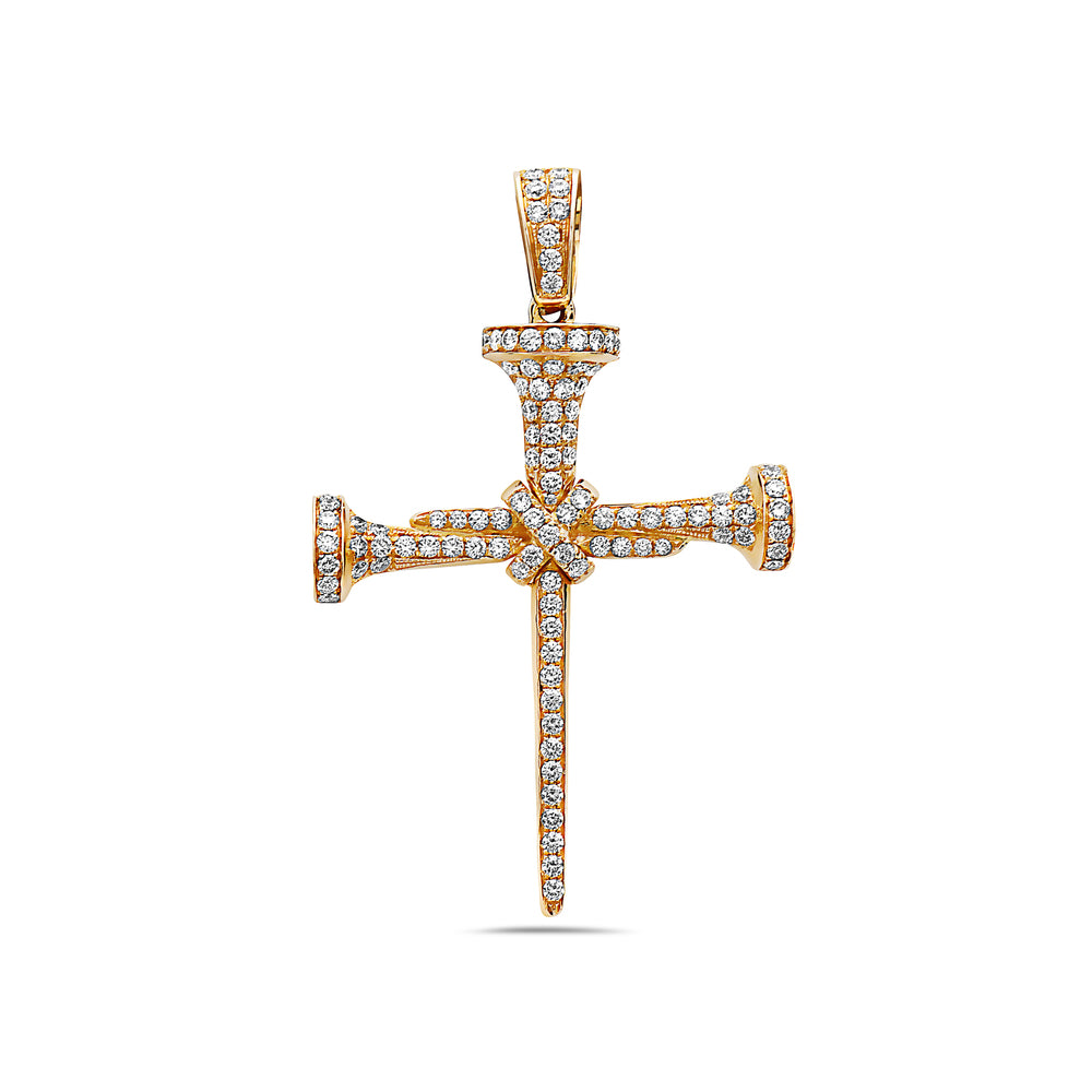 Gold Nails Cross Women's Pendant With 2.65 CT Diamonds available in rose and Yellow Gold