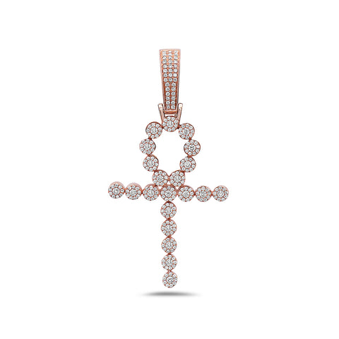 Unisex 14K Rose Gold Ankh Pendant with 1.10 CT Diamonds