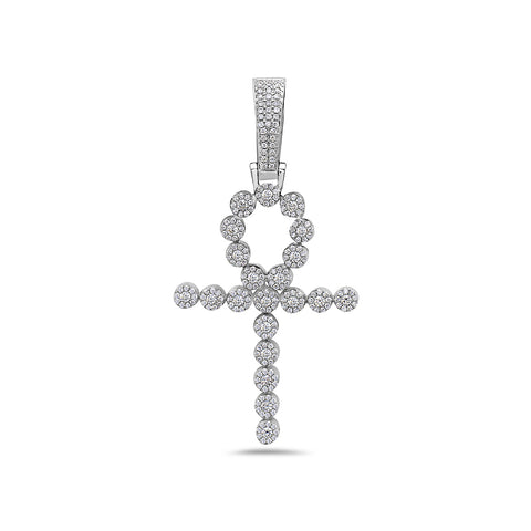 Men's 14K White Gold Ankh Pendant with 1.10 CT Diamonds