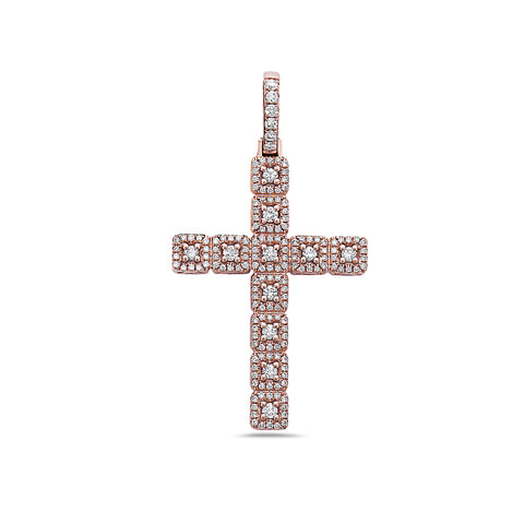 Unisex 14K Rose Gold Cross Pendant with 0.62 CT Diamonds