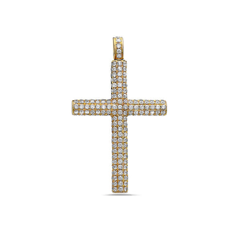 14K Yellow Gold Cross Pendant with 4.20 CT Diamonds