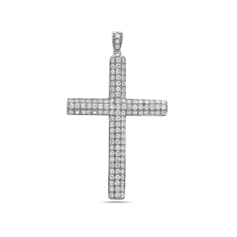 14K White Gold Cross Pendant with 2.43 CT Diamonds