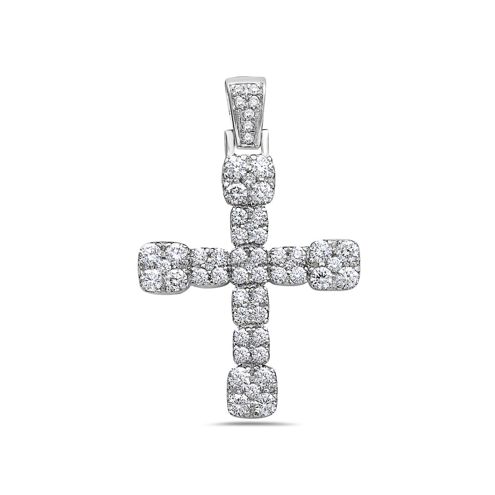 Unisex 14K White Gold Cross Pendant with 1.85 CT Diamonds