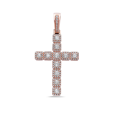 Unisex 14K Rose Gold Cross Pendant with 1.12 CT Diamonds