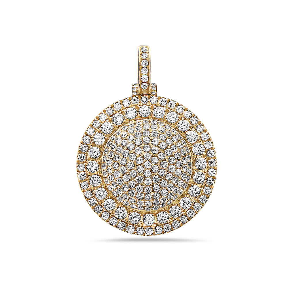 Men's 14K Yellow Gold Circle Pendant with 6.48 CT Diamonds