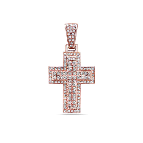 Unisex 14K Rose Gold Cross Pendant with 1.42 CT Diamonds