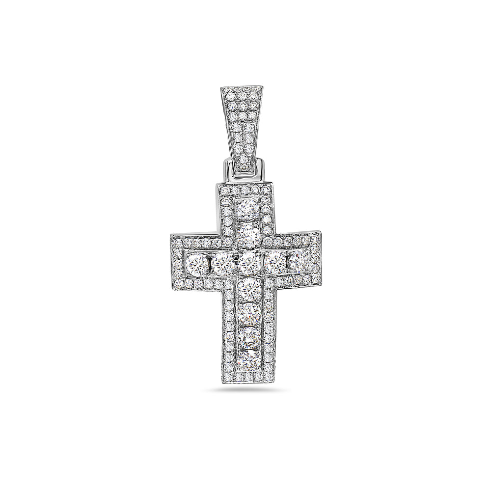 Unisex 14K White Gold Cross Pendant with 2.46 CT Diamonds