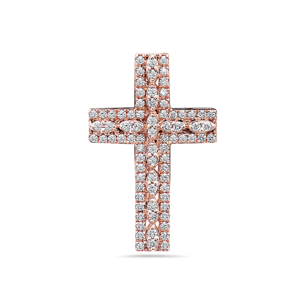 Unisex 14K Rose Gold Cross Pendant with 0.90 CT Diamonds