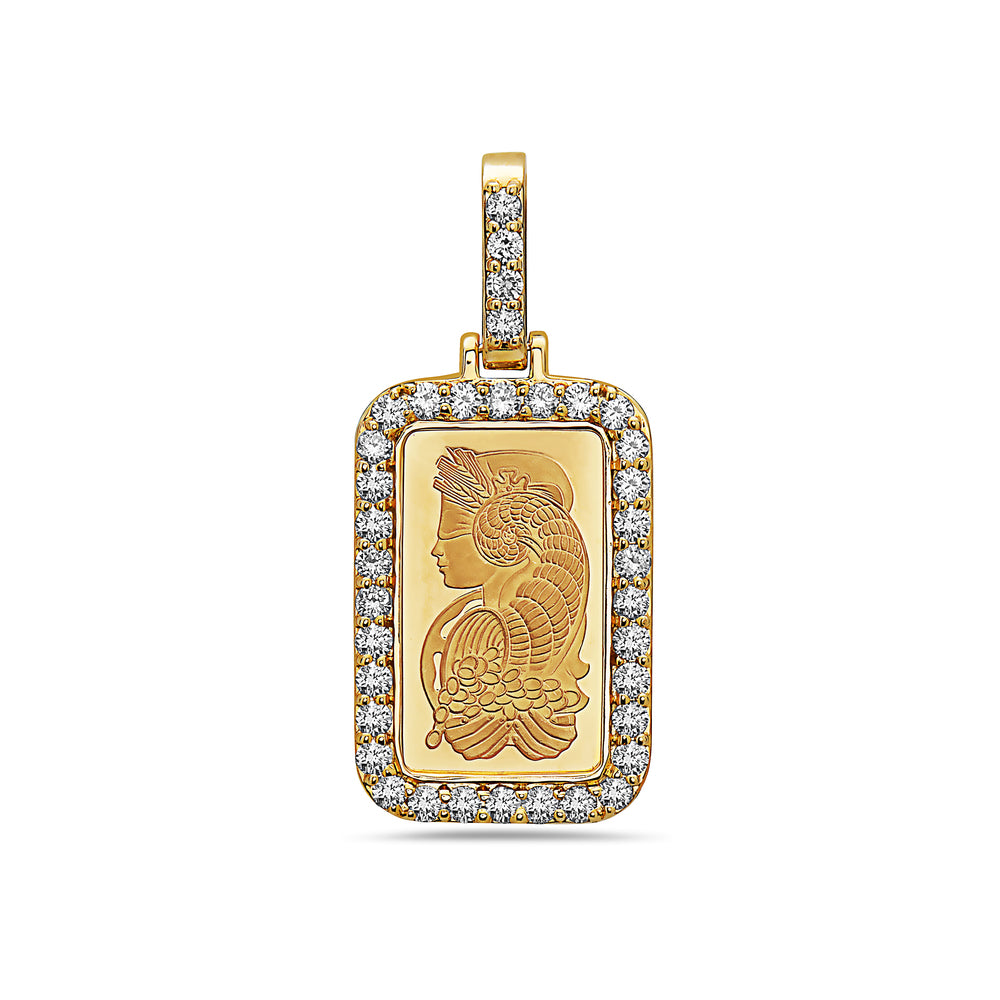 14K Yellow Gold Egyptian Figure Tag Women's Pendant With 1.44 CT Diamonds