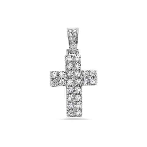 14K White Gold Cross Pendant with 2.65 CT Diamonds
