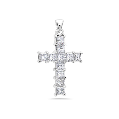 Unisex   14K White Gold Cross Pendant with 1.60 CT Diamonds
