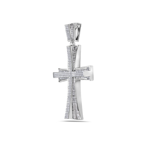 14K White Gold Cross Pendant with 14.38 CT Diamonds