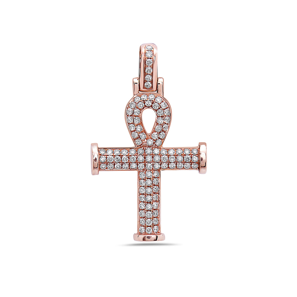 Unisex 14K Rose Gold Ankh Pendant with 0.70 CT Diamonds
