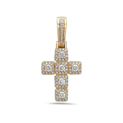 Unisex 14K Yellow Gold Cross Pendant with 0.65 CT Diamonds