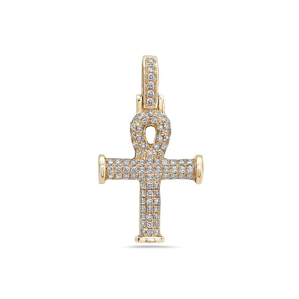 Men's 14K Yellow Gold Ankh Pendant with 0.38 CT Diamonds