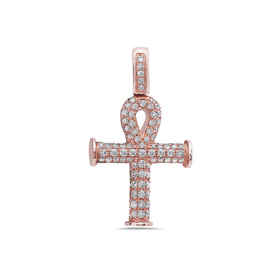 14K Rose Gold Ankh Pendant with 0.92 CT Diamonds
