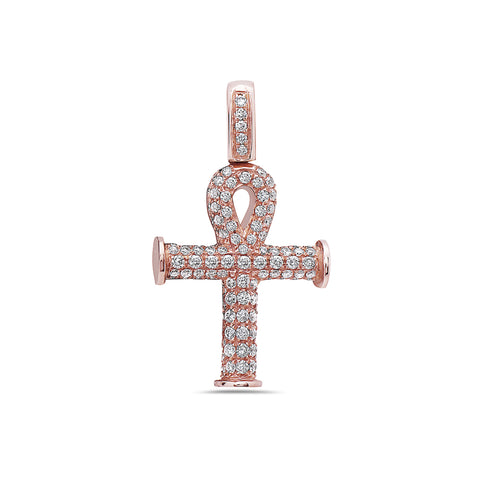 Unisex 14K Rose Gold Ankh Pendant with 0.92 CT Diamonds