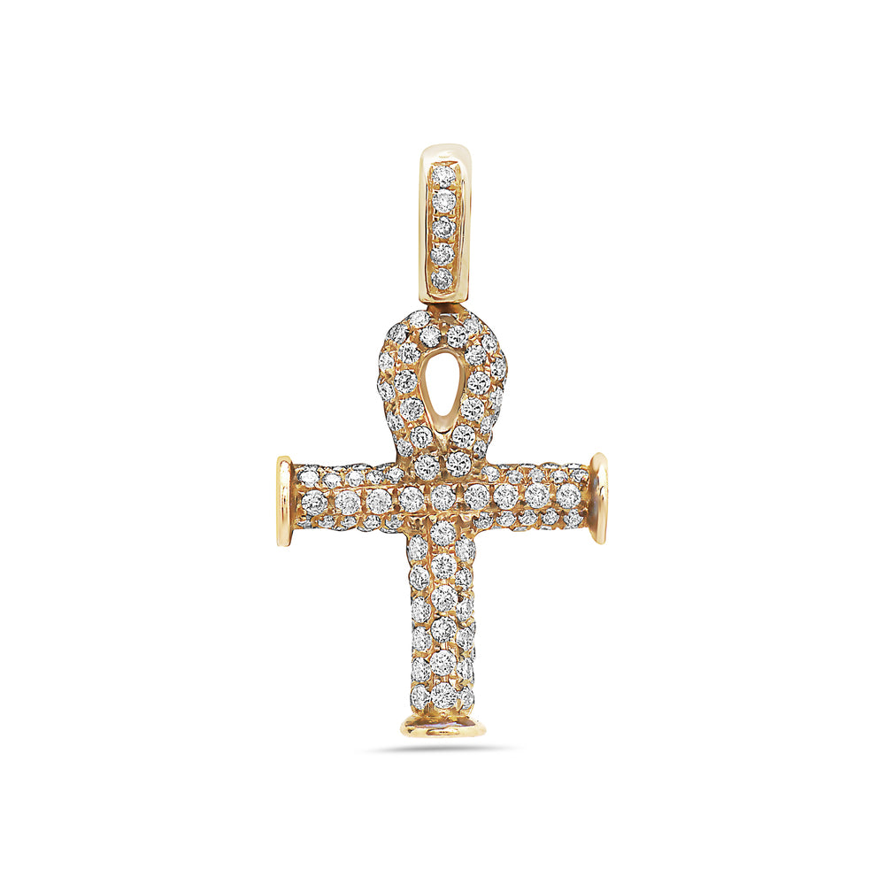 Men's 14K Yellow Gold Ankh Pendant with 0.92 CT Diamonds