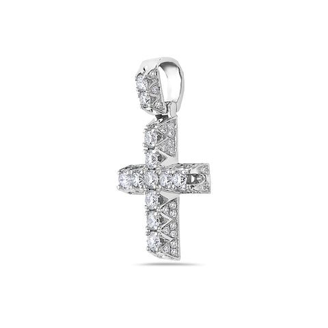Unisex  14K White Gold Cross Pendant with 1.40 CT Diamonds