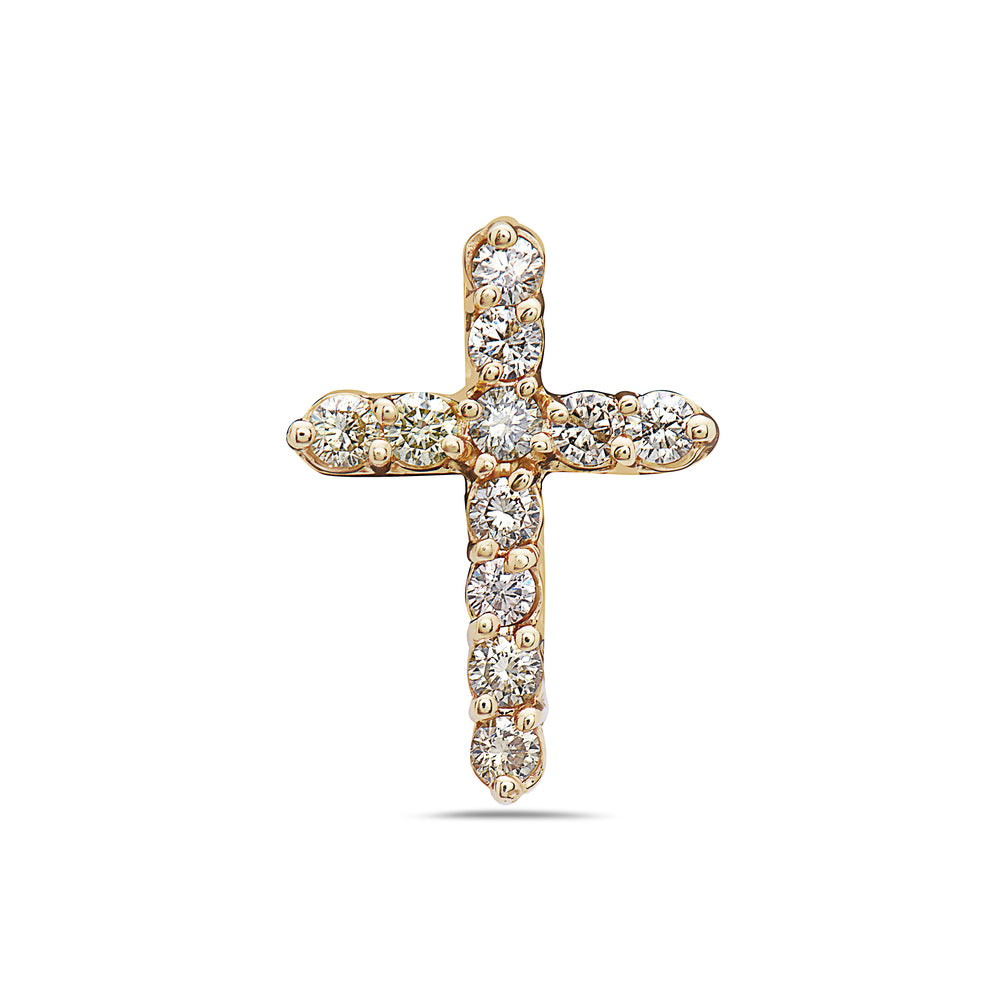 14K Yellow Gold Cross Pendant with 1.20 CT Diamonds