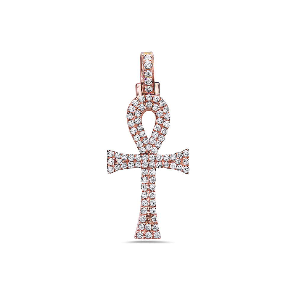 Unisex 14K Rose Gold Ankh Pendant with 0.40 CT Diamonds