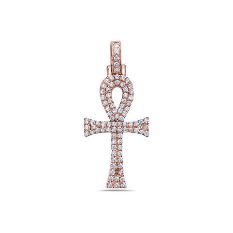 14K Rose Gold Ankh Pendant with 0.40 CT Diamonds