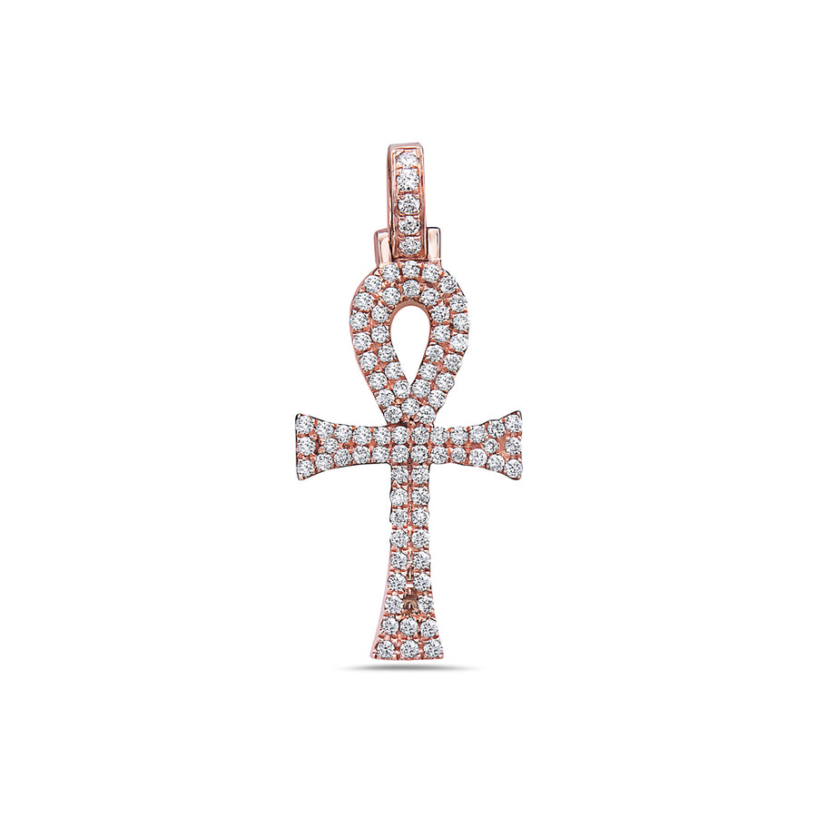 Men's 14K Rose Gold Ankh Pendant with 0.40 CT Diamonds