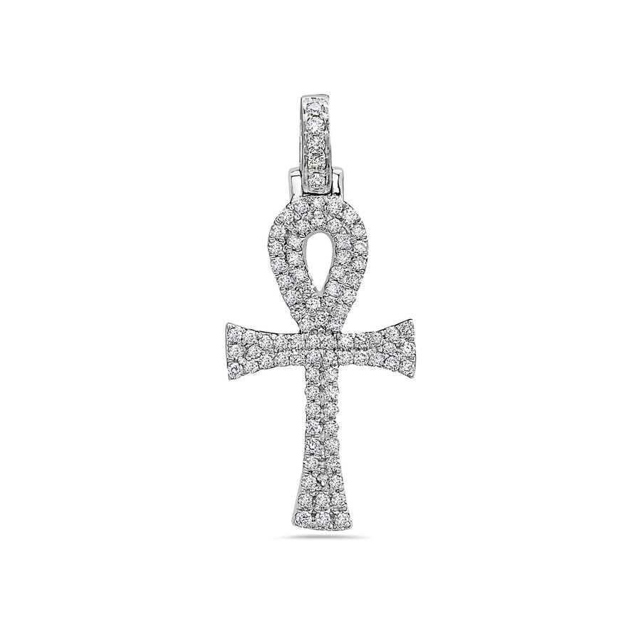 Men's 14K White Gold Ankh Pendant with 0.40 CT Diamonds