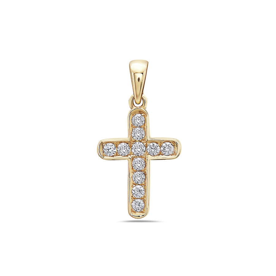 14K Yellow Gold Cross Pendant with 0.20 CT Diamonds