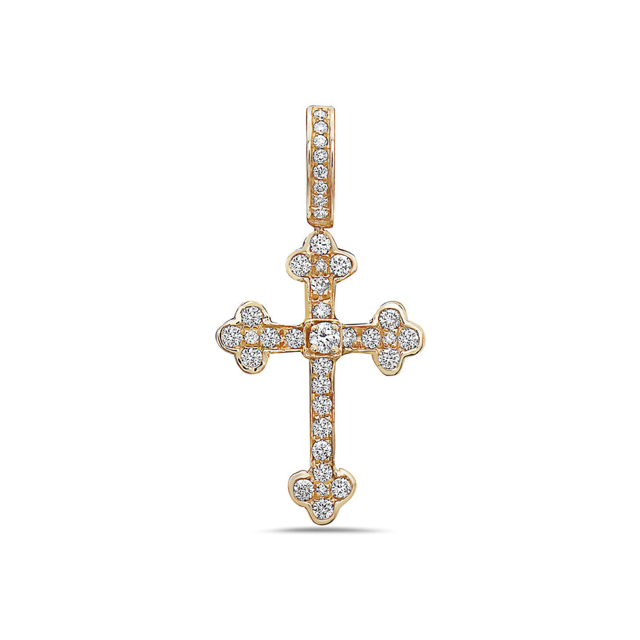 Men's 14K Yellow Gold Cross Pendant with 0.37 CT Diamonds